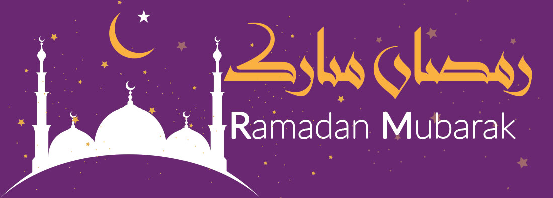 Ramadan Mubarak Message with purple background.  Image features a stylized outline of a mosque in white, a yellow moon, and a large white star.  Ramadan Mubarak written in yellow Arabic script and white roman script